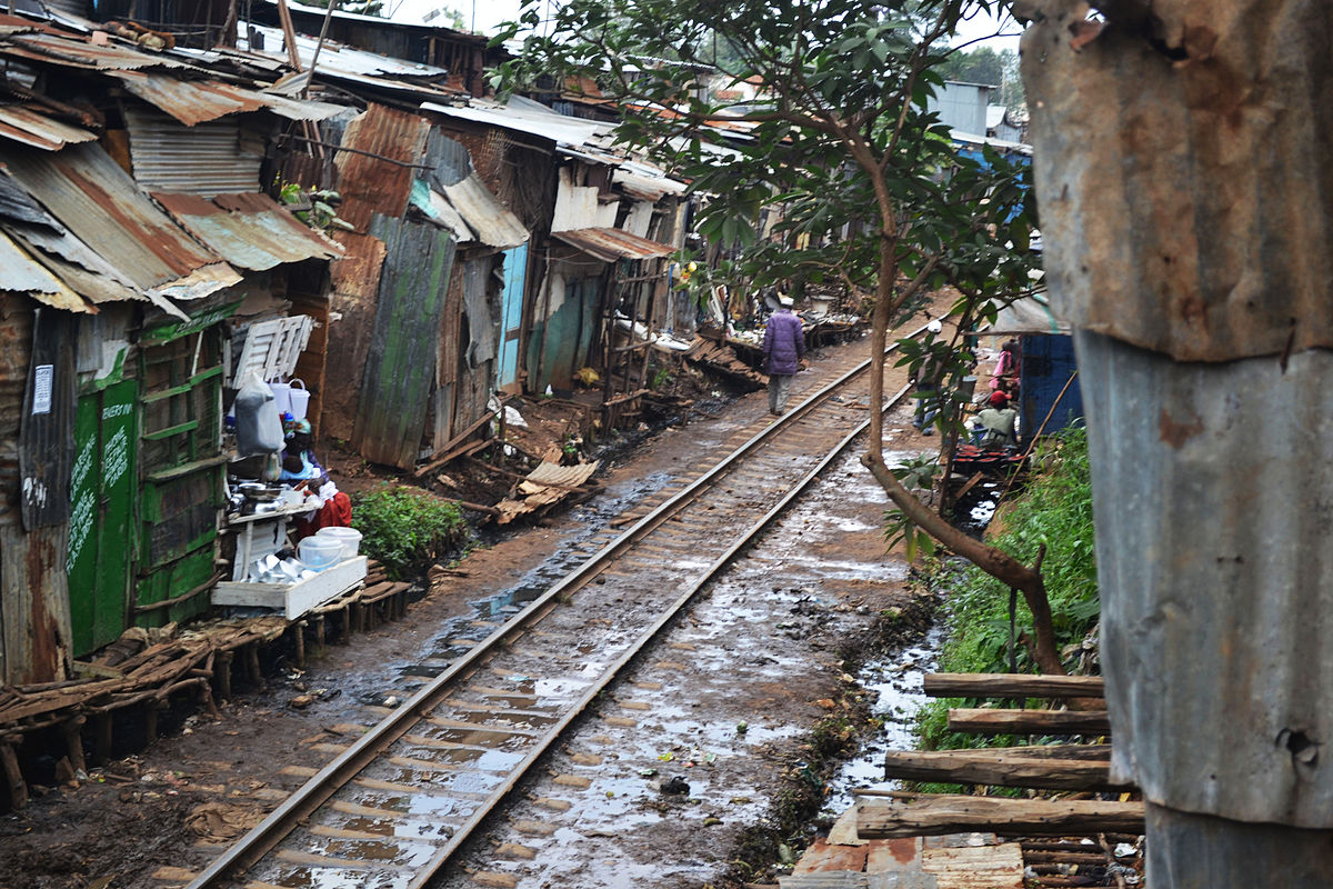Kibera slum with railway running through